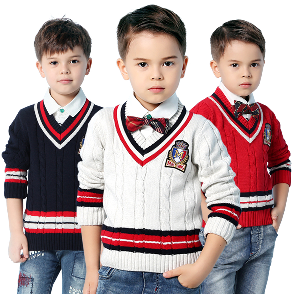 все цены на Winter Boys Sweater Pullover Spring V Neck Children's Knitwear Tops Fall Warm Kid Cotton Knit Coat Long Sleeve Striped Clothing