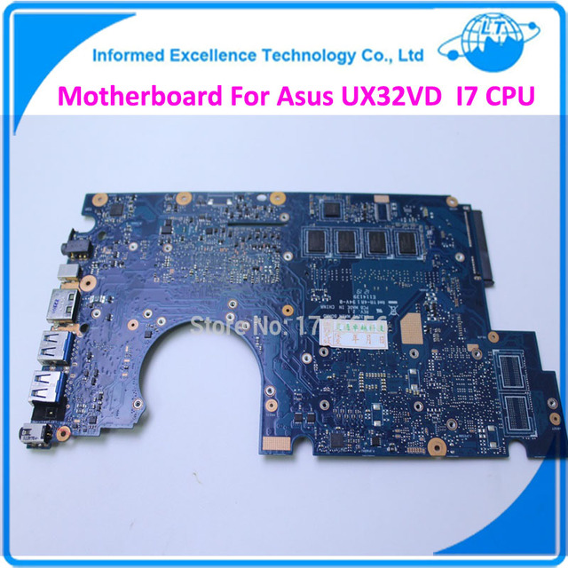 Placa madre del ordenador portátil placa madre para asus ux32vd rev 2.4 pm 60-npomb1e00-c11 69n0mym1ec11 mainboard onboard i7 cpu 100% probado
