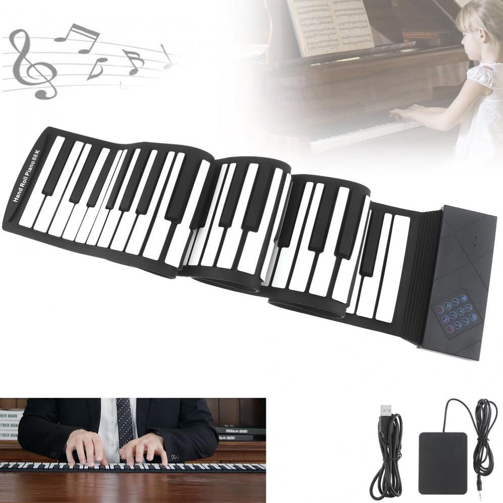 88 clés USB MIDI Roll Up Piano Électronique Portable Silicone Flexible Clavier Orgue avec Pédale de Sustain