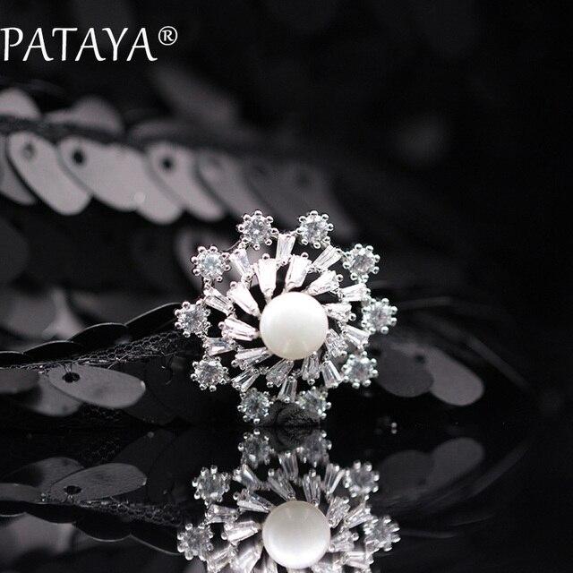 PATAYA New Christmas Present Snowflake Jewelry For Women Shell Pearls White Natural Zirconia True White Gold Luxury Brooches