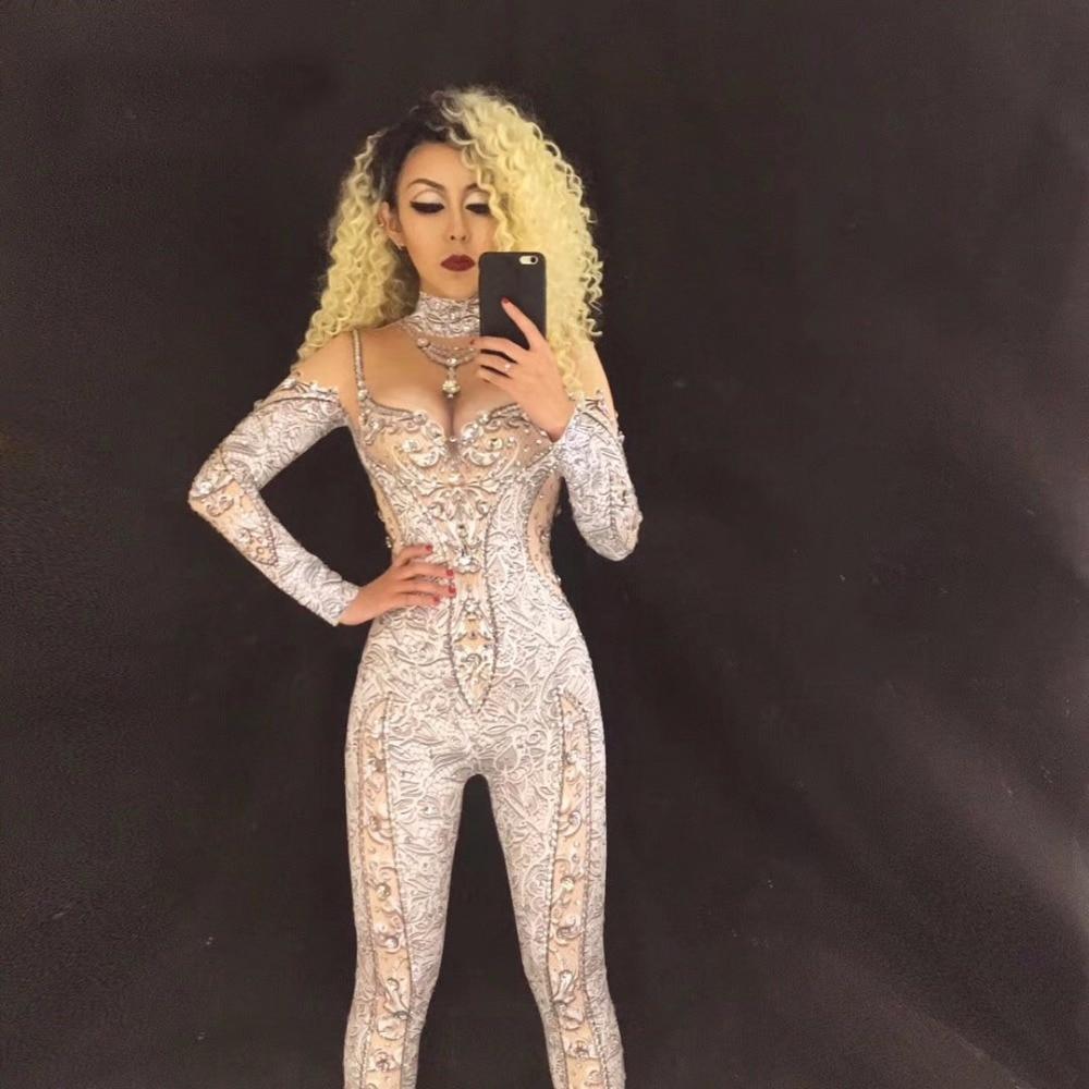 sexy sparkly crystal rhinestones bodysuit jumpsuit women's