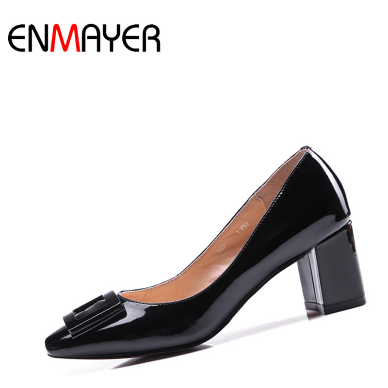 ФОТО ENMAYER Fashion High Heels Women Pumps Square Heel Spring&Autumn Patent Leather Metal Decorations Shoes Slip-on Pumps for Women