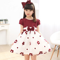 Baby Girl Dress 2016 New Summer Flower Girls Party Princess Dresses 3 10 Age Kids Bow