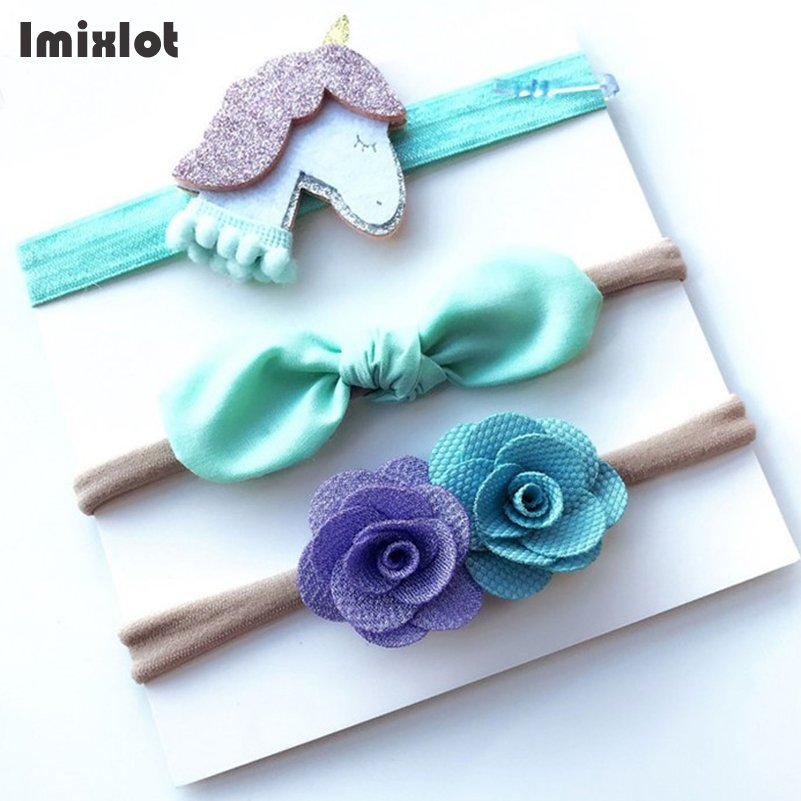 Imixlot 3pcs/set Kids Girls Nylon Bows Flower Headband Ribbon Hair Bows Elastic Hairband for Bebe Children Hair Accessories 10pcs lot high quality hair band with grosgrain ribbon flower for girls handmade flower hairbow hairband kids hair accessories