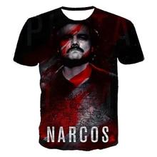 New Narcos Pablo Escobar Men T Shirt 3D Printed Mens O-neck T Shirt Hip Hop Short sleeve Tee Shirt Narcos T-Shirt 5XL