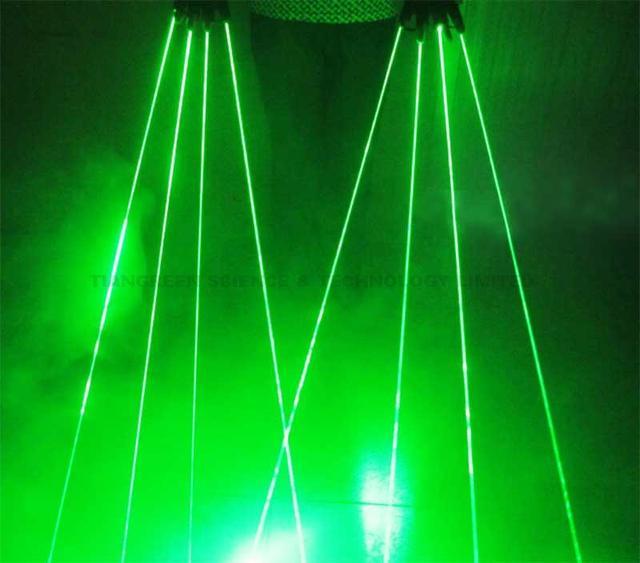 Luvas de laser verde lasers 532nm recarregável para stage disco club party laser show direita + esquerda 2 pcs free grátis