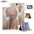 """Кожаный Чехол для Samsung Galaxy Tab 9.7 """"T550 Tablet Поддержка Стенд Крышка для T555 Рукав Защитная Оболочка Кожи Стилус Flim Кошка"""