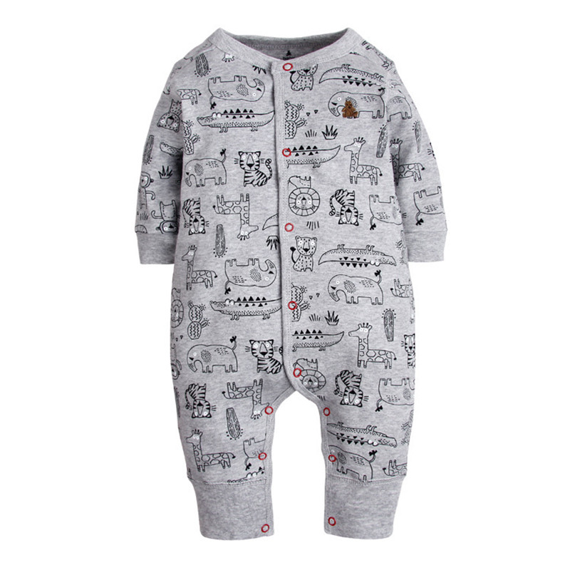 2018 New Fashion Newborn Baby Ropmer Cartoon Car Long Sleeve Baby Boy Girl Clothes 100% Cotton Sleepwear Baby   Rompers   Free ship