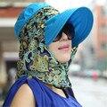 Новый 2016 Летняя Мода Шляпы Для Женщин Складной Анти-Уф-Защита От Солнца Hat Широкий Большой Брим Регулируемая Леди Шляпы Пляж Козырек