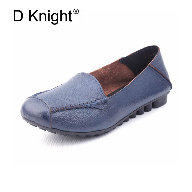 Hot Sale Women Casual Genuine Leather Flats Vintage Ladies Slip-on Loafers Cow Leather Flats For Women Mother Shoes Size 35-43 new fashion luxury women flats buckle shallow slip on soft cow genuine leather comfortable ladies brand casual shoes size 35 41