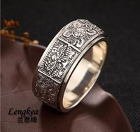 Lengkea jewery men rings Real 925 sterling silver ring Rotatable Big sizes rings women rings jewelry charm trinket lovers' Gifts