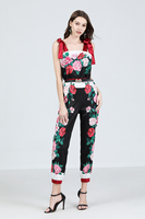 2019 Summer Jumpsuits Women Off Shoulder Strapless Tie up Rose Print Bodysuits Long Overall Pants with Belt Long Trouser TAD257