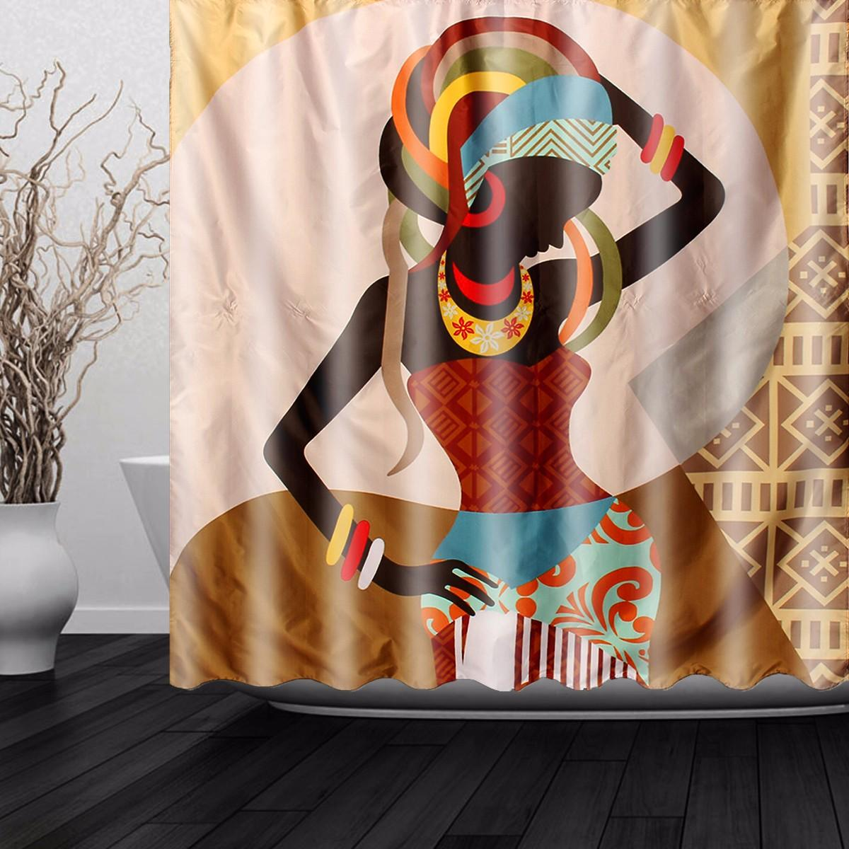180*180CM Women African Shower Curtain Fashion Bathroom Shower Curtain Waterproof Tub Curtain Home Decor With 12 Hooks Gift