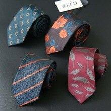 Полосатый Пейсли перо Цветочный Тонкий галстук для мужские галстуки 7 см бабочка в деловом стиле полиэстер Corbatas свадебные костюмы Gravatas