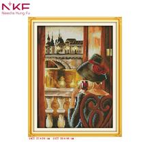 NKF Look out of the window home decor counted printed canvas cross stitch pattern diy kits DMC14ct11ct embroidery needlework