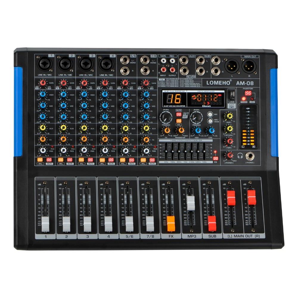 Lomoeho Am-08 four Mono + 2 Stereo eight Channels Bluetooth Usb Report Pc Report 48V Phantom Skilled Dj Audio Mixer
