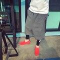 Homens cair virilha harém pant 2017 primavera moda de rua hip hop lã inverno causal pant engrosse calças soltas masculinos K666