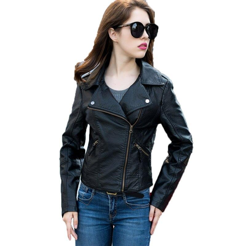 2019 jaro podzim bunda kožená dámská móda zapínací límec dlouhý rukáv krátký pu faxu Colete Couro černá kožená bunda