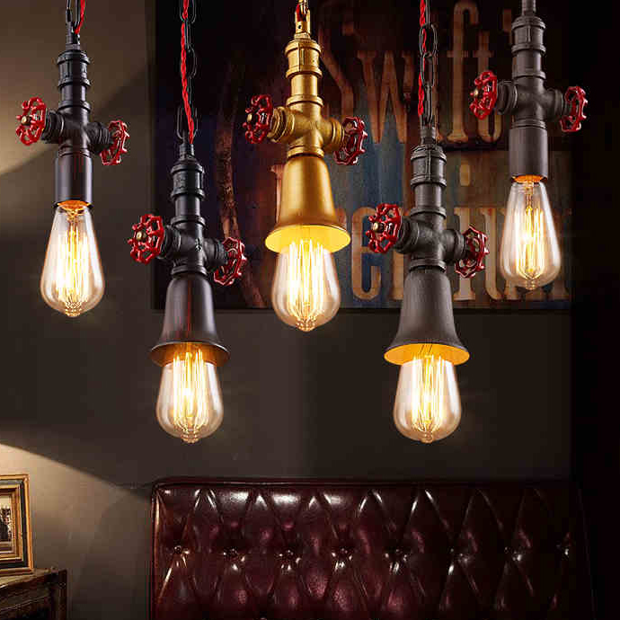 American Pendant Light Fixture Waterpipe Droplight Vintage Hanging Lamp Restaurant Home Indoor Lighting