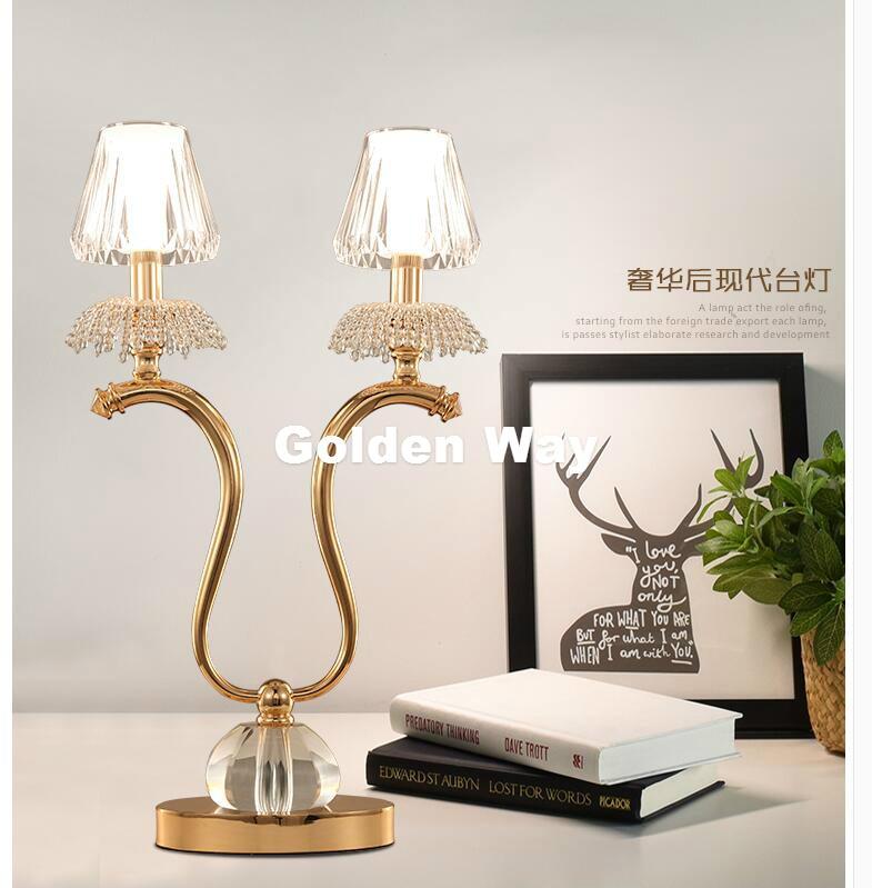 Недавно современных кристалл настольная лампа современный Nordic Хрустальная настольная лампа D380mm H640mm LED Европейский Стиль Спальня прикроват...