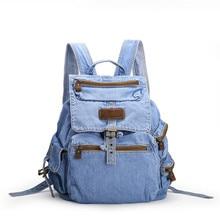 Дизайнер высокая материал ковбой джинсовая ткань дамы рюкзак мода мягкая большая емкость женщины рюкзаки 2 цветов mochilas escolares