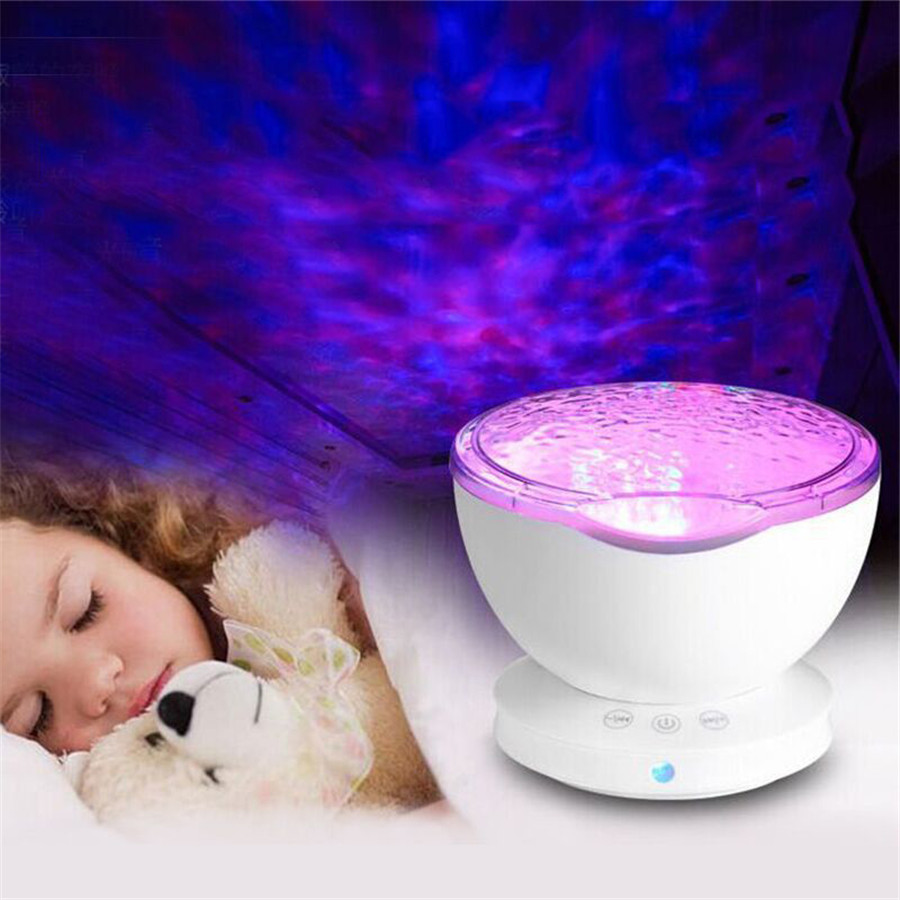 zoyabell Night Light Star Sky Ocean Wave Music Player Projector Baby Kids Sleep Romantic Led Starry Star Master USB Aurora Lamp
