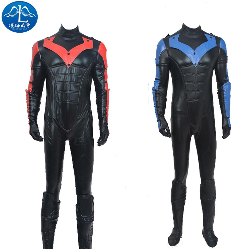 Batman Costume Arkham City Nightwing Cosplay Costume Adult Men Halloween Cosplay Superhero Batman Cosplay Costume Custom Made
