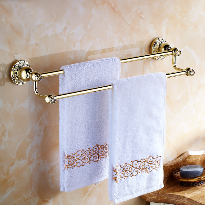 ФОТО wall mounted Modern Antique Brass Towel Bar Towel Rack Holder Dual Levers crystal Flower Carved Base bathroom accessories 6202