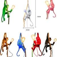 Art Nordic 7 Colir Monkey Lamp Rope LED Pendant Lights Lighting Resin Seletti Hanging Lamp Monkey Lamp Luminaire Hanging Lights
