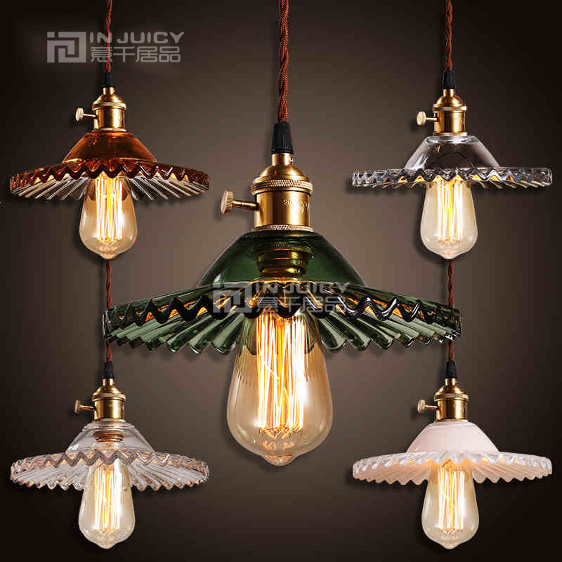 Industrial Vintage Edison Iron Glass Lotus Flower Cafe Ceiling Lamp Droplight Fixtures Chandeliers Bar LED Bedroom Reading Room colorful glass bowknot led corridor loft bedroom bar ceiling light lamp droplight cafe bar hall store restaurant decor