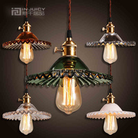 Industrial Vintage Edison Iron Glass Lotus Flower Cafe Ceiling Lamp Droplight Fixtures Chandeliers Bar LED Bedroom Reading Room