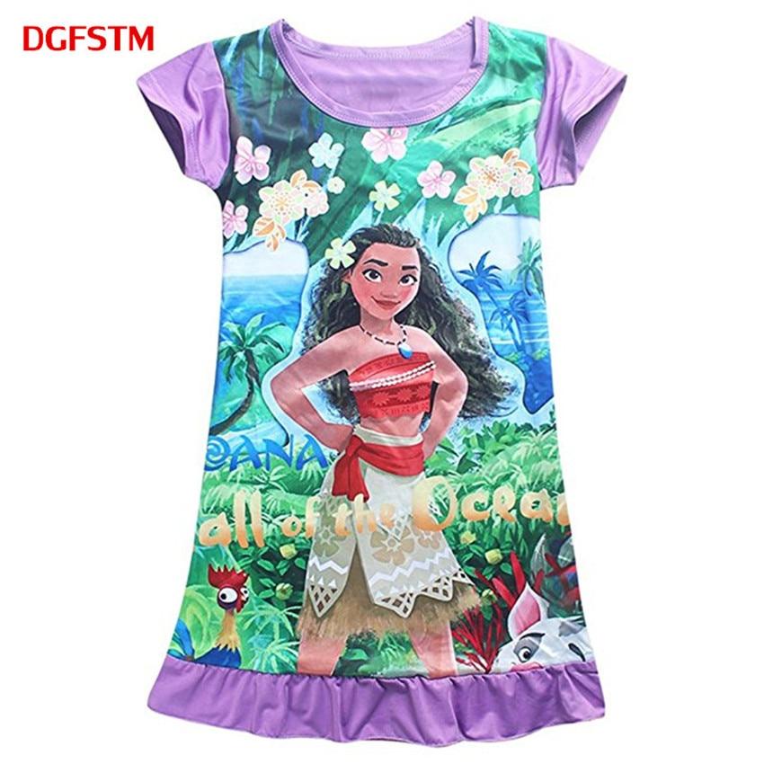 4-10Y 2017 Summer Children Kids Clothing Girl Vest Dress Moana Comfy Loose Fit Pajamas Girls Printed Princess Dress sleepwear