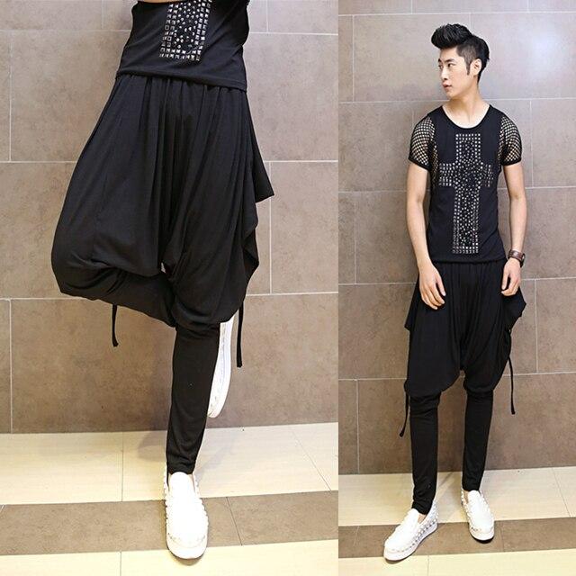 2017 Hombre Pista Discoteca Estilo Harem Hombres Personalidad de La Moda Coreana Original Harem Pantalones Colgando Entrepierna Pantalones Marea Pantalones
