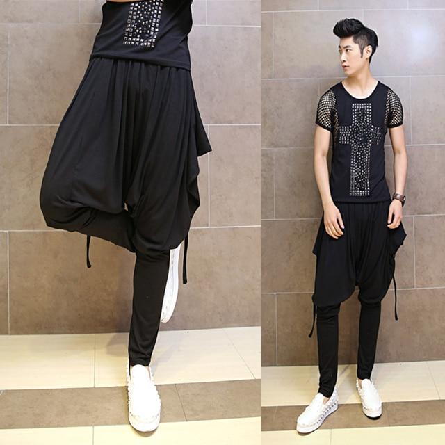 2017 Man Runway Style Nightclub Harem Pants Men Korean ...