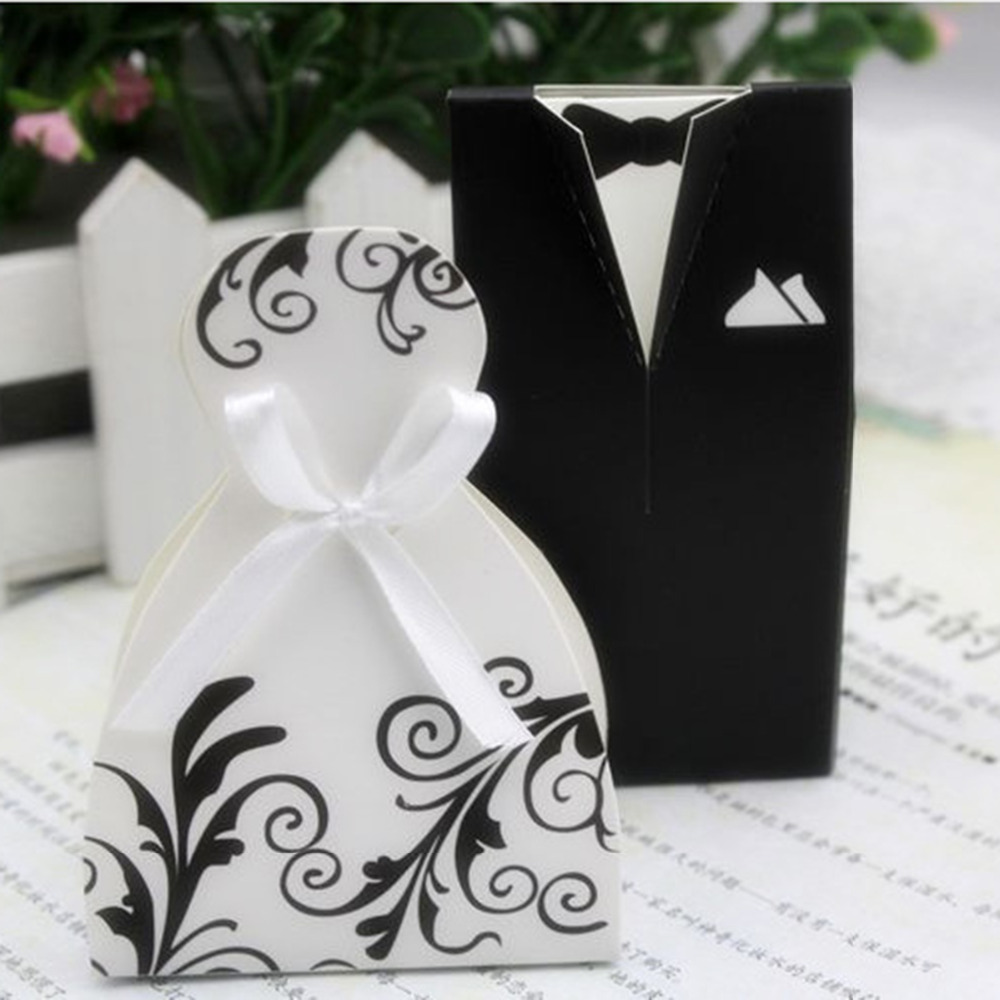 2017 New Fashion Paper Wedding Party Candy Favor Box Bride Tuxedo ...