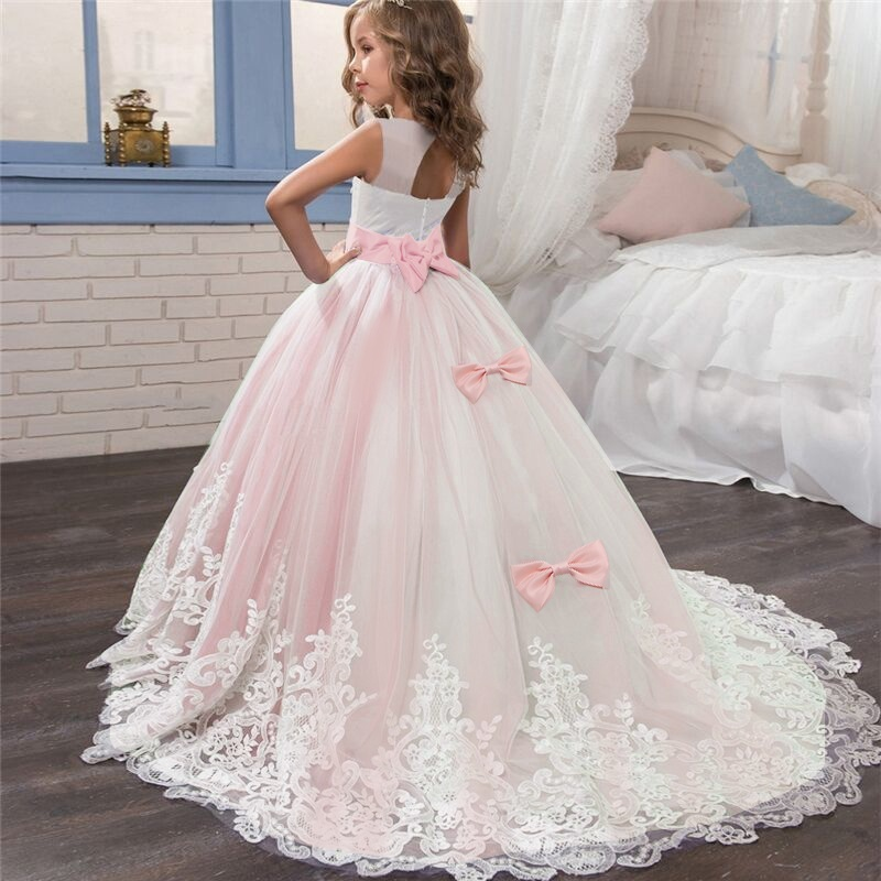 Girls Backless Tulle With Bow Girls Charming Lace Pink Flower Girl Dress For Party Wear For 2-14Y