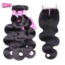 По бразильское сырье для волос Для тела волна 3 Связки с 4×4 Синтетические волосы на кружеве средняя часть non-реми Человеческие волосы для красоты волос