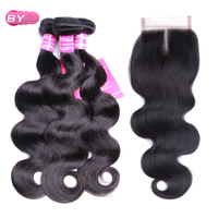 BY Brazilian Raw Hair Body Wave 3 Bundles With 4x4 Lace Closure Middle Part Non Remy