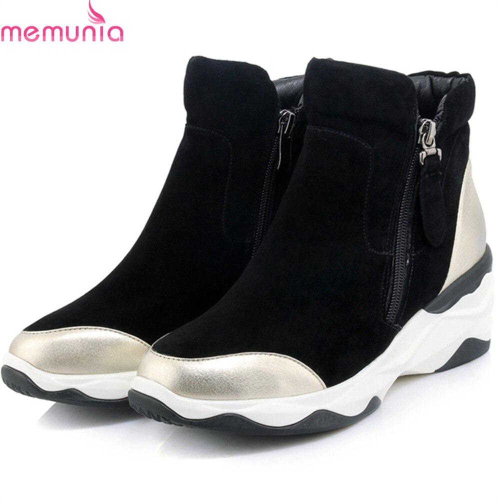 MEMUNIA black Golden fashion women boots zipper ladies genuine leather+kid suede boots round toe wedges cow leather ankle boots memunia fashion women boots round toe ladies genuine leather boots square heel zipper cow leather wool keep warm mid calf boots