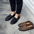 Hot sale 2016 fashion Black / grown retro loafers summer mens shoes soft genuine leather flats men outdoor casual shoes