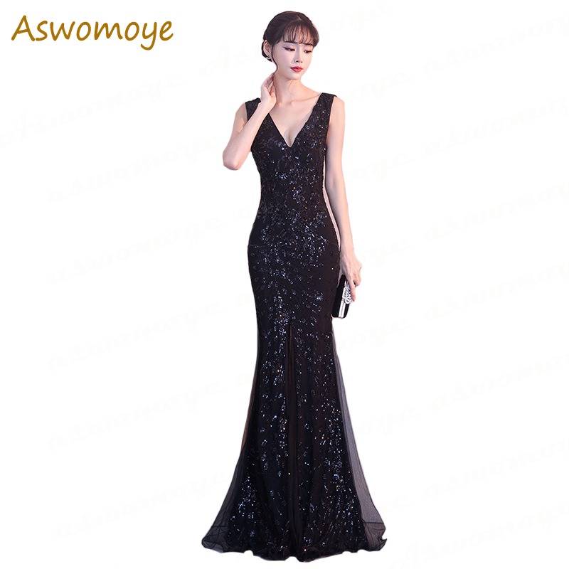 Gorgeous Black Mermaid Sequins   Evening     Dresses   2018 New Sexy V-Neck Prom Party   Dress   Princess Gowns Runway vestido de festa