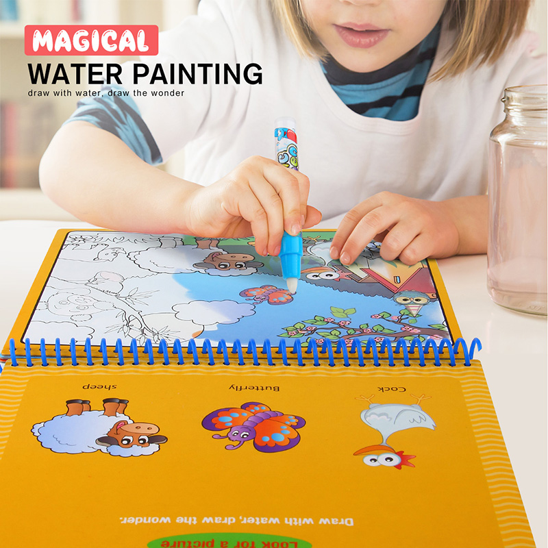 Coloring Book Water Drawing Painting Baby Kids Toys Mat Board with Magic Pen Doodle for Children Drawing Early Educational