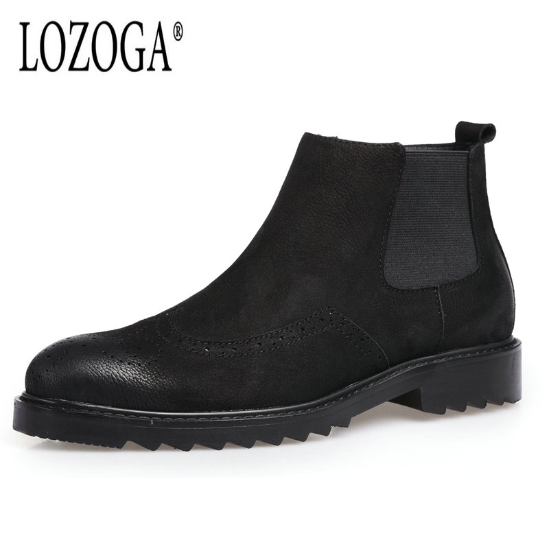 LOZOGA Autumn Winter Men Shoes Genuine Leather Boots Retro Chelsea Boots Ankle Round Toe Europe America Fashion Carved Brogue farvarwo formal retro buckle chelsea boots mens genuine leather flat round toe ankle slip on boot black kanye west winter shoes