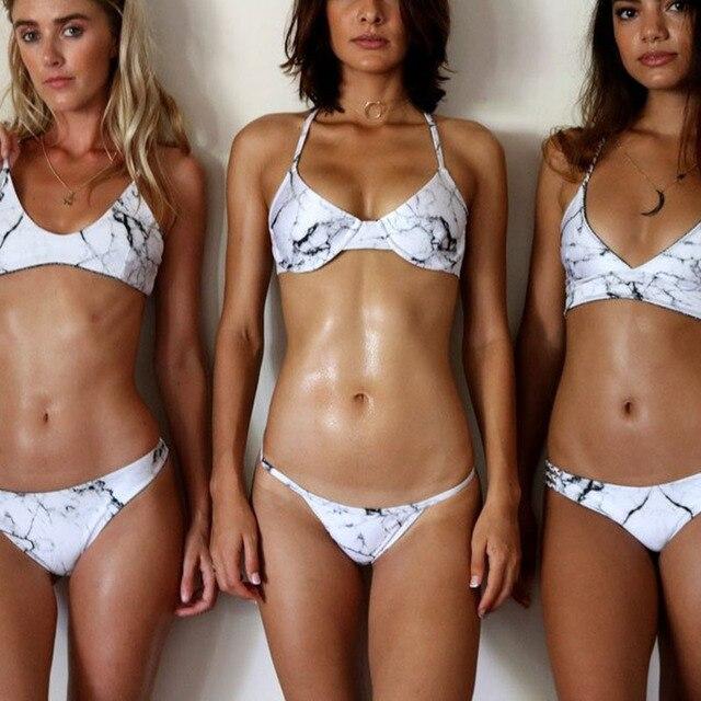 3614c9eb7b Sexy Swimwear Women Brazilian Bikini Marble Print Bra Halter Bikini Set  Swimsuit Bathing Suit Summer Beachwear maillot de bain
