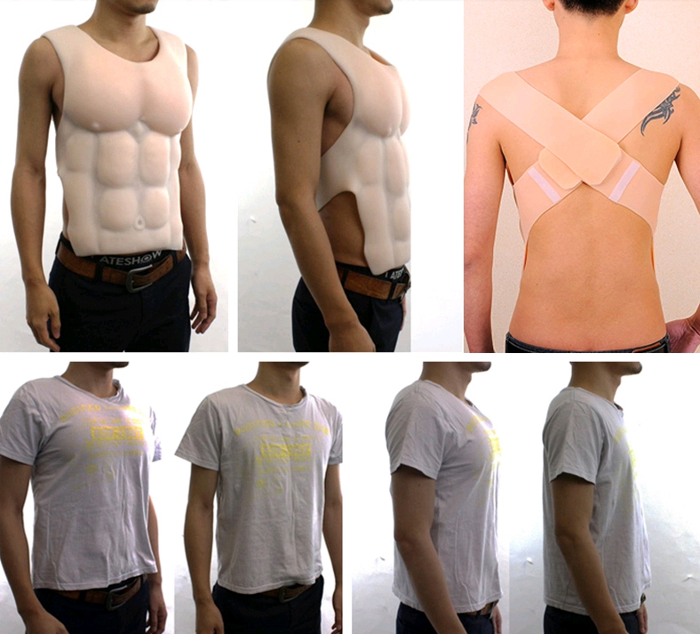 Cos Halloween Costume Props Fake Chest Muscle Customizable Cyberskin