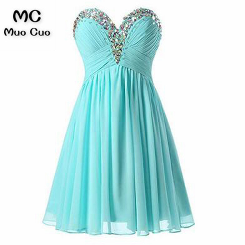 2018 A-Line Graduation Homecoming Dresses Short Crystals Beaded Chiffon Wedding Party Dress Homecoming Cocktail Party Dress