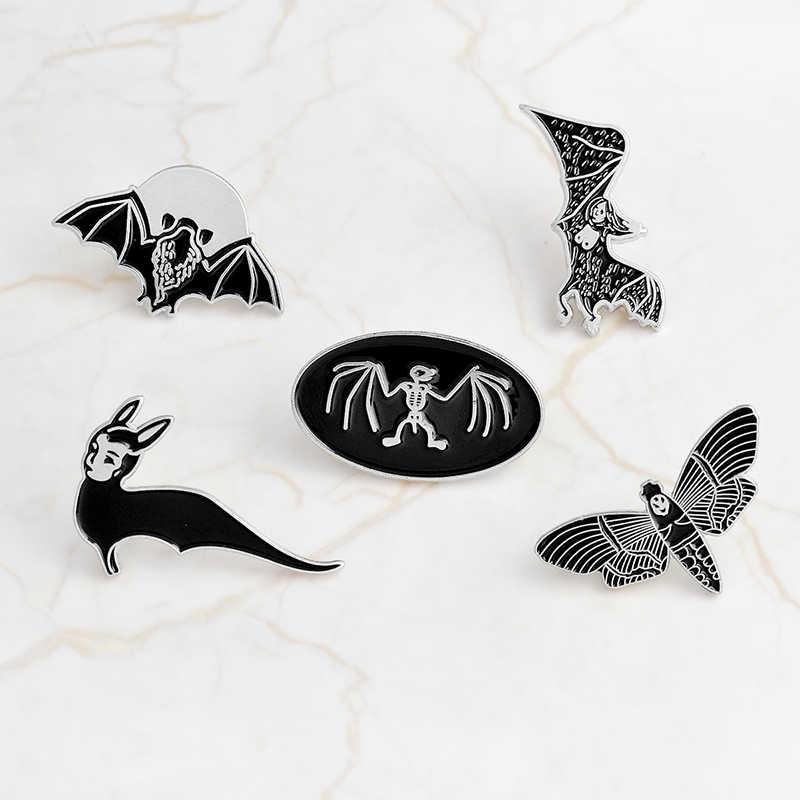 Брошь с эмалью в виде летучей мыши и бабочки в готическом стиле, черная пуговица, джинсовая одежда, Сумка с отворотом, булавка в стиле панк, ювелирные изделия в виде животных, подарок для друзей