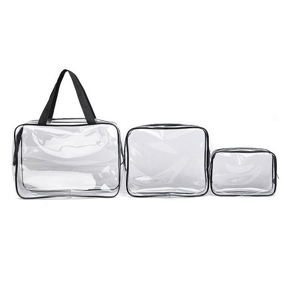 Hot 3pcs Clear Cosmetic Toiletry PVC Travel Wash Makeup Bag (Black) ...