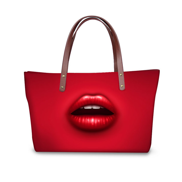 7bc68e0d1877a FORUDESIGNS Ekskluzywna Moda Torba Na Ramię Kobiety Sexy Czerwone Usta Duża  Torebka Damska Kobiet Turystyki Bolsas