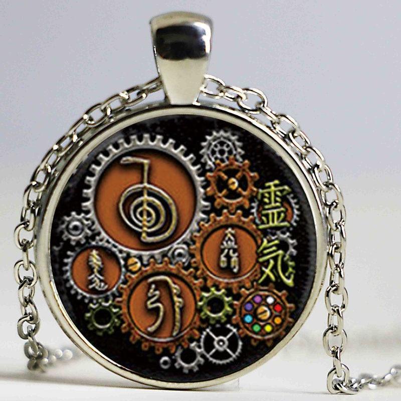 1PCS Símbolos Reiki en diseño Steampunk Collar colgante Collar de cristal con foto cabujón